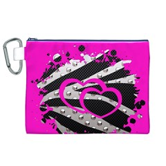 Torn Zebra Heart Canvas Cosmetic Bag (XL)