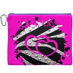 Torn Zebra Heart Canvas Cosmetic Bag (XXXL)