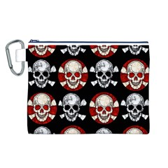 Red Black Skull Polkadots  Canvas Cosmetic Bag (Large)