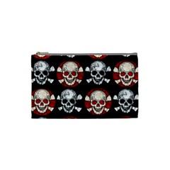 Red Black Skull Polkadots  Cosmetic Bag (small)