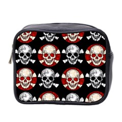 Red Black Skull Polkadots  Mini Travel Toiletry Bag (two Sides)
