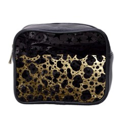 Cheetah Stars Gold  Mini Travel Toiletry Bag (two Sides)