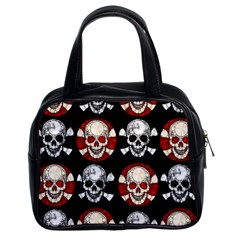 Red Black Skull Polkadots  Classic Handbag (two Sides)