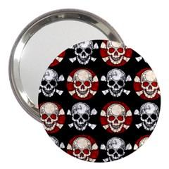 Red Black Skull Polkadots  3  Handbag Mirror