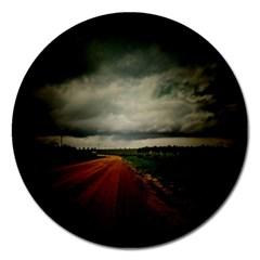 Dark Empty Road Magnet 5  (round)
