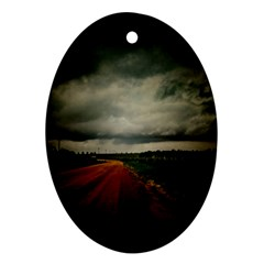 Dark Empty Road Oval Ornament (Two Sides)