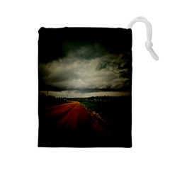 Dark Empty Road Drawstring Pouch (Large)
