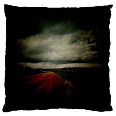 Dark Empty Road Large Flano Cushion Case (Two Sides)