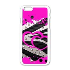 Torn Zebra Heart Apple iPhone 6 White Enamel Case