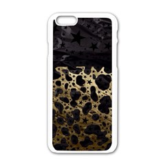 Cheetah Stars Gold  Apple Iphone 6 White Enamel Case