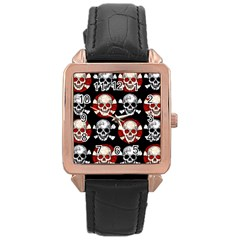 Red Black Skull Polkadots  Rose Gold Leather Watch