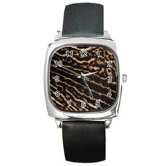 Leopard Texture  Square Leather Watch