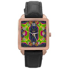 Hippie Fractal  Rose Gold Leather Watch