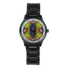 Hippie Fractal  Sport Metal Watch (black)