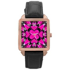 Hot Pink Glossy Rose Gold Leather Watch