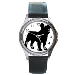 French Bulldog Silo Black Ls Round Leather Watch (Silver Rim)