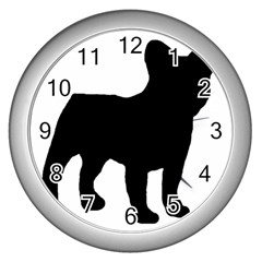 French Bulldog Silo Black Ls Wall Clock (Silver)