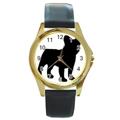 French Bulldog Silo Black Ls Round Leather Watch (Gold Rim)