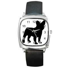 French Bulldog Silo Black Ls Square Leather Watch