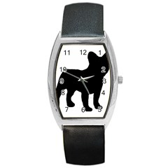 French Bulldog Silo Black Ls Tonneau Leather Watch