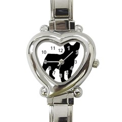 French Bulldog Silo Black Ls Heart Italian Charm Watch