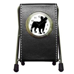 French Bulldog Silo Black Ls Stationery Holder Clock