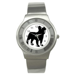 French Bulldog Silo Black Ls Stainless Steel Watch (Slim)