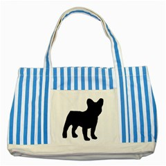 French Bulldog Silo Black Ls Blue Striped Tote Bag