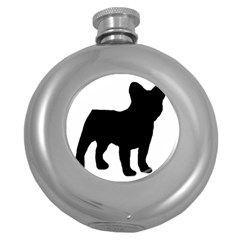 French Bulldog Silo Black Ls Hip Flask (Round)