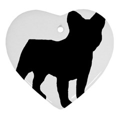 French Bulldog Silo Black Ls Heart Ornament (Two Sides)