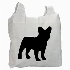French Bulldog Silo Black Ls White Reusable Bag (One Side)