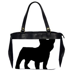 French Bulldog Silo Black Ls Oversize Office Handbag (Two Sides)