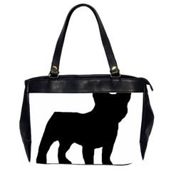 French Bulldog Silo Black Ls Oversize Office Handbag (Two Sides)
