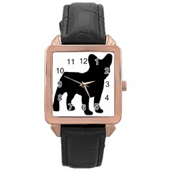 French Bulldog Silo Black Ls Rose Gold Leather Watch