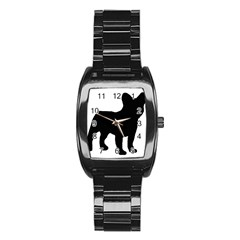 French Bulldog Silo Black Ls Stainless Steel Barrel Watch