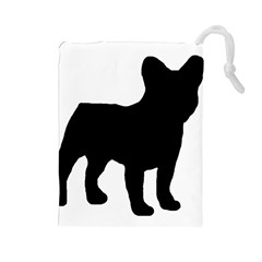 French Bulldog Silo Black Ls Drawstring Pouch (Large)
