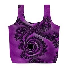 Purple Dragon Fractal  Reusable Bag (L)