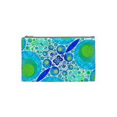 Turquoise Blue Abstract  Cosmetic Bag (small)