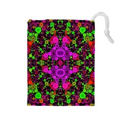 Abstract Florescent Unique  Drawstring Pouch (Large)
