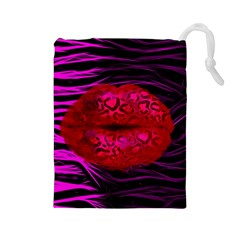Sassy Lips Cheetah Drawstring Pouch (Large)