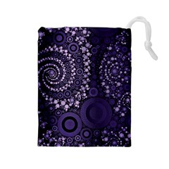 Deep Purple Swirls Drawstring Pouch (large)