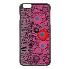 Pink Zebra Abstract Apple Iphone 6 Plus Black Enamel Case