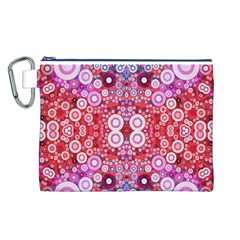 Girly Pink Polkadots  Canvas Cosmetic Bag (Large)