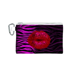 Sassy Lips Cheetah Canvas Cosmetic Bag (Small)