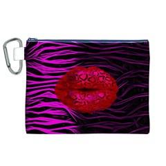 Sassy Lips Cheetah Canvas Cosmetic Bag (XL)
