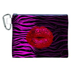 Sassy Lips Cheetah Canvas Cosmetic Bag (XXL)