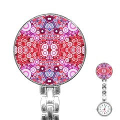 Girly Pink Polkadots  Stainless Steel Nurses Watch
