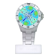 Turquoise Blue Abstract  Nurses Watch
