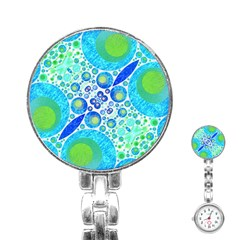 Turquoise Blue Abstract  Stainless Steel Nurses Watch