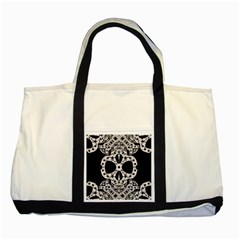 Metal Texture Silver Skulls  Two Toned Tote Bag